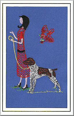 German Shorthaired Pointer Birthday Card or Notecard Embroidered by Dogmania