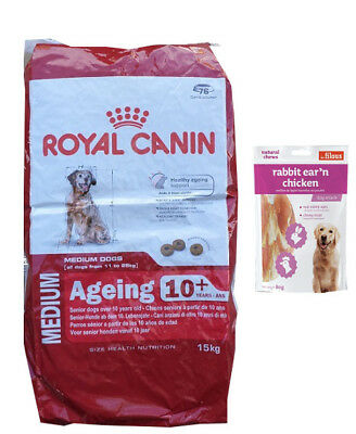 15kg  Royal Canin Medium Ageing + 10 Senior Mature  +  80g Fleischsnacks