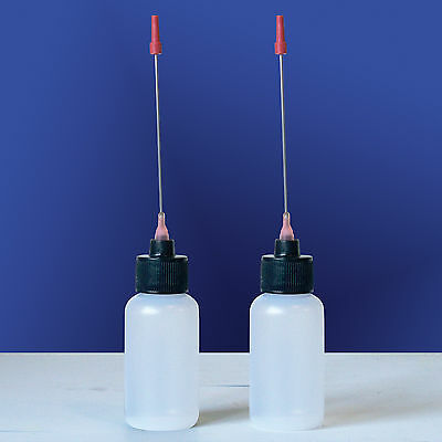 2-1 OZ bottles with EXTRA LONG 3 INCH STAINLESS STEELE NEEDLE TIP DISPENSER