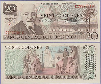 Costa Rica 20 Colones Banknote 7.4.1983 About Uncirculated Cat#238-C-3016