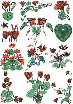 "ABC Designs Freestyle Cyclamens Machine Embroidery Designs SET for 5""x7"" hoop"