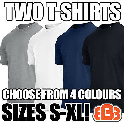 GILDAN PACK OF 2 T-SHIRTS black, white, grey, navy & sizes S, M, L, XL