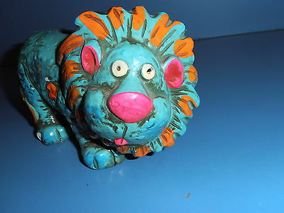 Retro 1960s Neon Blue LION Coin Bank TRIMONT WARE Japan Ceramic NICE L@@K