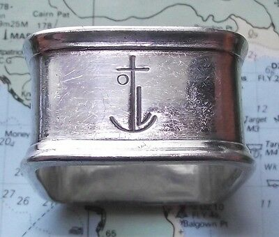 c1920 Art Deco Square Orient Line Steam Navigation Company Napkin Ring - Anchor