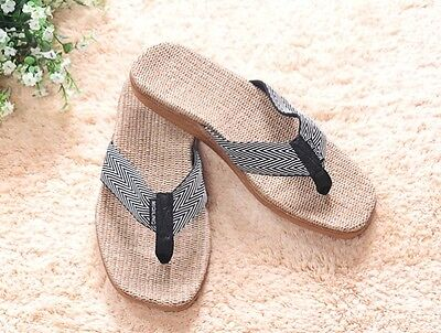 Healthy Comfortable Hemp Jute Slippers Flip Flops Thongs - men(black)