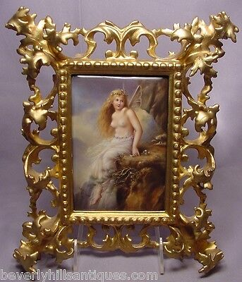Rare Superb Beautiful Antique Nude Fairy Painted Porcelain Plaque Signed Wagner