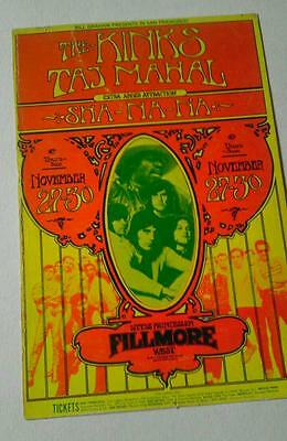 Fillmore -Billy Graham handbill The kinks Taj Mahal