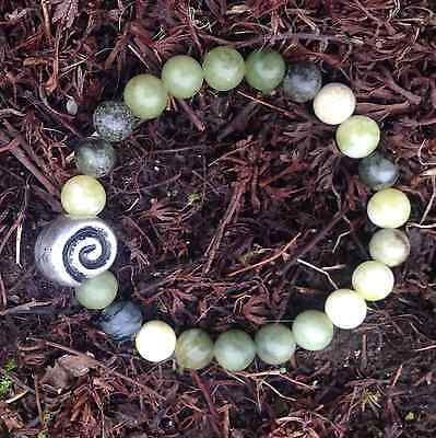 Connemara Marble Bracelet With Celtic Spiral Bead
