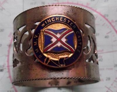 Old c1930's RMMV Winchester Castle Line Pierced Napkin Ring with Enamel Crest