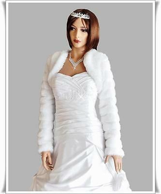 NEW Women's Top Wedding Faux Fur Bolero Bridal Long Sleeve Jacket