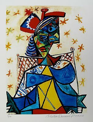 Pablo Picasso SEATED WOMAN WITH RED HAT Estate Signed & Numbered Small Giclee