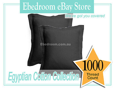 2X 1000TC Egyptian Cotton European Pillowcase Sham Pillow cases 6?5x65cm