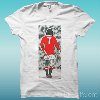 "T-Shirt "" George Best 7  "" Bianco The Happiness Is Have My T-Shirt New"