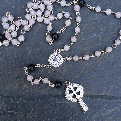 Irish Rosary beads, Kilkenny Marble and Rose Quartz, Designed be Sue Bowden