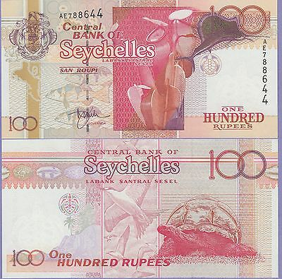 Seychelles 100 Rupees Banknote 2001 Uncirculated Condition Cat#40-8644