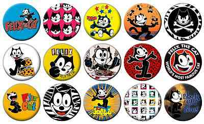 """FELIX THE CAT - Lot of 15 - Pin Back - 1"""" Buttons Badges (One Inch) – Set"""