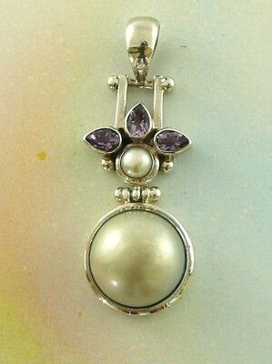 Sterling Silver 925 Pearl & Amethyst Pendant P38
