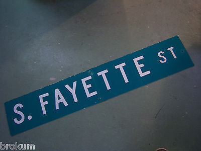 "Large Original S. Fayette St Street Sign 48"" X 9"" White Lettering On Green"