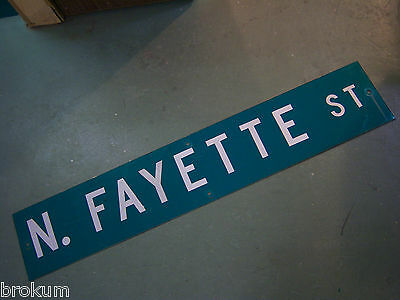 "Large Original N. Fayette St Street Sign 48"" X 9"" White Lettering On Green"