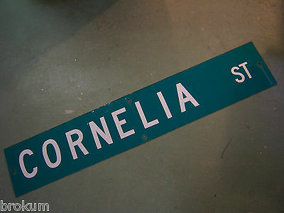 "Large Original Cornelia St Street Sign 48"" X 9"" White Lettering On Green"