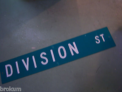 "Large Original Division St Street Sign 48"" X 9"" White Lettering On Green"