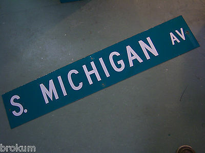 "Large Original S. Michigan Av Street Sign 48"" X 9"" White Lettering On Green"