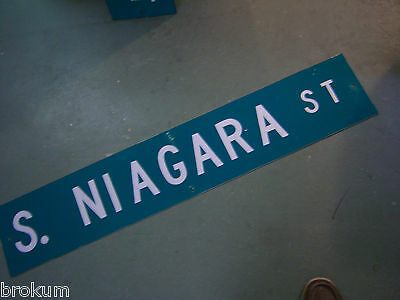 "Large Original S. Niagara St Street Sign 48"" X 9"" White Lettering On Green"