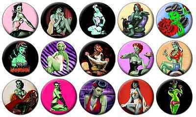 """ZOMBIE PIN-UP GIRLS - Lot of 15 - Pin Back - 1"""" Buttons Badges (One Inch) – Set"""