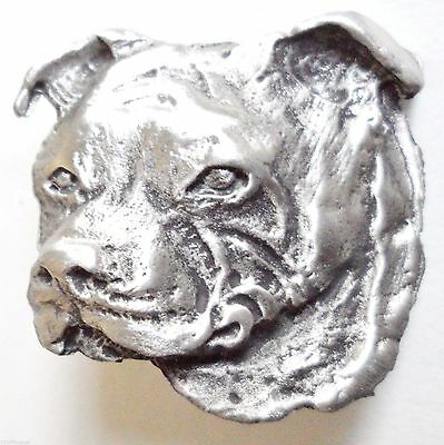 Staffordshire Staffy Bull Terrier Pin Badge - Hand Made in English Pewter