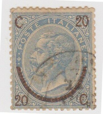 (IT20) 1865 Italy 20c On 15c Blue Surcharge ow17