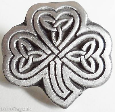 Celtic Irish Shamrock Pin Badge - Hand Made in Pewter