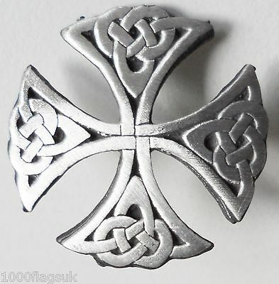 Celtic Cut Out Cross Pin Badge - Hand Made in English Pewter