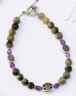 Connemara marble and amethyst celtic Irish bracelet. Jewelry gifts Ireland