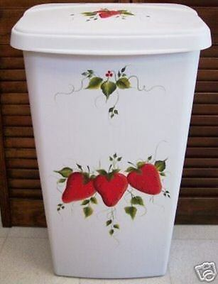 Hand Painted Strawberry Trash Can/hamper/new Design By Mb