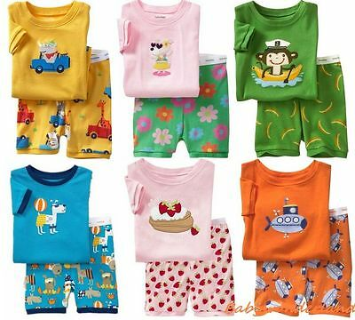 New Baby Girls Boys Pyjamas Sleepwear Short Sleeve Size 0,1,2,3,4,5,6,7