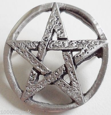 Wiccan Pentangle Pentagram Pin Badge - Hand Made in English Pewter
