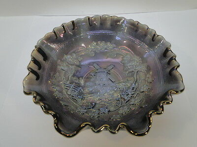 "Vintage Imperial Carnival Glass Bowl Windmill Pattern Smoke 8"" Ruffled Edge Dish"