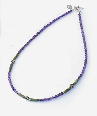 Connemara Marble And Amethyst Celtic Necklace
