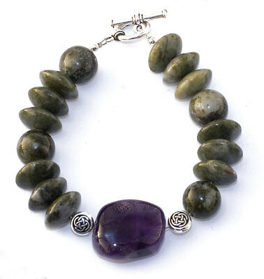 Large Beaded Connemara Marble With Amethyst Contemporary Celtic Bracelet