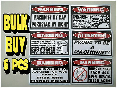 Funny Machinist Tool Box Toolbox Cnc Machine Gear Rack Dro Sticker Decal 6 Pcs