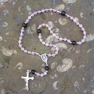 Irish Rosary Beads Rose Quartz With Kilkenny Marble