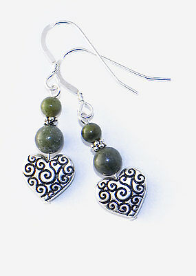 Connemara marble celtic spiral heart earrings. Irish made jewelry. Newgrange