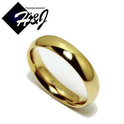 Men's Women's Gold Over Stainless Steel 5mm Plain Simple Wedding Band Size 5-13