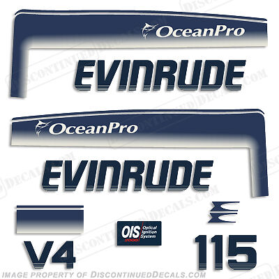Evinrude 115hp V4 OceanPro Outboard Decal Kit - 1993 1994 1995 1996 1997