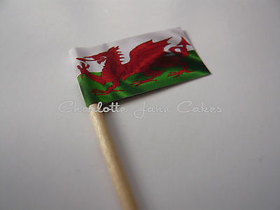 20 Wales / Welsh Dragon Cupcake Flags / Toppers