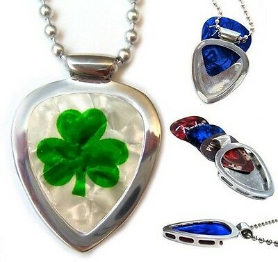 SHAMROCK luck of the Irish PICKBAY Guitar pick Holder Pendant Necklace Set
