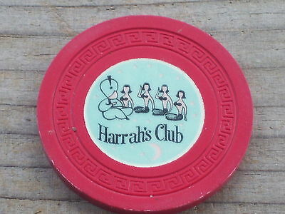 2ND EDT R5/7 ROULETTE CHIP (RB) FROM THE HARRAH'S CLUB CASINO LAKE TAHOE NV
