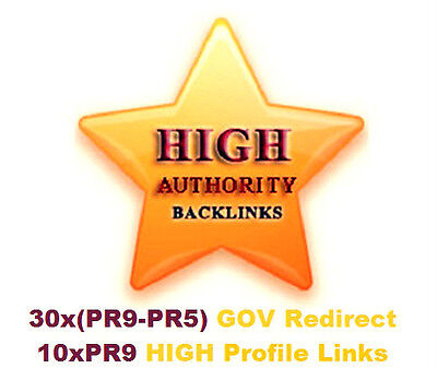30 GOV Backlinks PR9-PR5 Baclinks + 10xPR9 Profile Backlinks . Traffic, SEO !