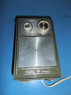 Vtg ELECTRO BRAND Solid State Battery-Electric Transistor Radio w case HONG KONG