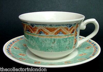 TWO Churchill Kabul Ports of Call by Jeff Banks Lg Tea Cups & Saucers 300ml VGC